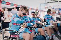 CX U23 World Champion Eli Iserbyt (BEL/Marlux-Bingoal) prepping for the race<br /> <br /> 3rd Dwars Door Het hageland 2018 (BEL)<br /> 1 day race:  Aarschot > Diest: 198km