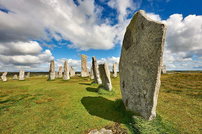 Outer row of stones, 27 metres long,  leading to the central stone circle, circa 2900BC. Calanais Neolithic Standing Stone (Tursachan Chalanais) , Isle of Lewis, Outer Hebrides, Scotland.