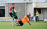 10 July 2014; Rory Patterson, Derry City, scores his sides third goal , Aberystwyth Town. UEFA Europa League First Qualifying Round, Second Leg, Aberystwyth Town v Derry City. Park Avenue, Aberystwth, Wales. Picture credit: Ian Cook / SPORTINGWALES