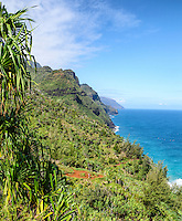 A view of Kaua'i's Na Pali coastline from the Kalalau Trail.
