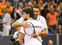 September 13, 2014, Netherlands, Amsterdam, Ziggo Dome, Davis Cup Netherlands-Croatia, Doubles, Cilic/Draganja celebrate their victory, Croatia makes 1-2<br /> Photo: Tennisimages/Henk Koster