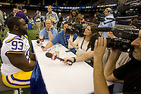 Bennie Logan of LSU talks with the reporters during BCS Media Day at Mercedes-Benz Superdome in New Orleans, Louisiana on January 6th, 2012.