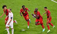 2nd July 2021; Allianz Arena, Munich, Germany; European Football Championships, Euro 2020 quarterfinals, Belgium versus Italy;  Belgian forward Romelu Lukaku   celebrates scoring from a penalty kick  which made it 1-2
