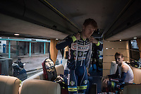 Frederik Backaert (BEL/Wanty-Groupe Gobert) pre-race prepping in the team bus <br /> <br /> GP Le Samyn 2017 (1.1)