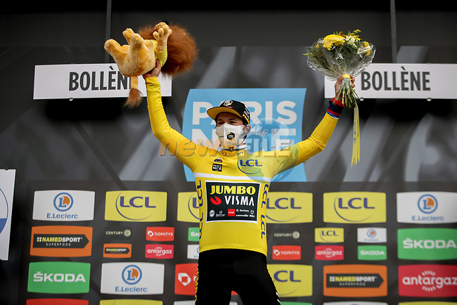 Race leader Primoz Roglic (SLO) Team Jumbo-Visma retains the Yellow Jersey at the end of Stage 5 of Paris-Nice 2021, running 200km from Vienne to Bollene, France. 11th March 2021.<br /> Picture: ASO/Fabien Boukla | Cyclefile<br /> <br /> All photos usage must carry mandatory copyright credit (© Cyclefile | ASO/Fabien Boukla)