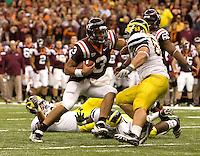 Virginia Tech quarterback Logan Thomas runs during Sugar Bowl game against Michigan at Mercedes-Benz SuperDome in New Orleans, Louisiana on January 3rd, 2012.  Michigan defeated Virginia Tech, 23-20 in first overtime.
