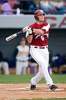 South Carolina Gamecocks Reese Havens (6) follows through on his swing versus the East Carolina Pirates at Sarge Frye Field in Columbia, SC, Sunday, February 24, 2008.