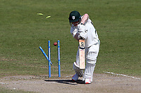 Ben Cox of Worcestershire is bowled out by Sam Cook during Worcestershire CCC vs Essex CCC, LV Insurance County Championship Group 1 Cricket at New Road on 2nd May 2021