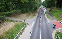 peloton with Lotto-Belisol train on the tracks<br /> <br /> 1st Brussels Cycling Classic<br /> Brussels - Brussels: 197km