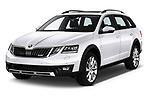 2017 Skoda Octavia Combi Scout 5 Door Wagon angular front stock photos of front three quarter view