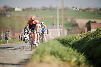 Stijn Steels (BEL/Roompot - Charles) leading the race over the cobbles of the Stationstraat<br /> <br /> 62nd E3 BinckBank Classic (Harelbeke) 2019 <br /> One day race (1.UWT) from Harelbeke to Harelbeke (204km)<br /> <br /> ©kramon