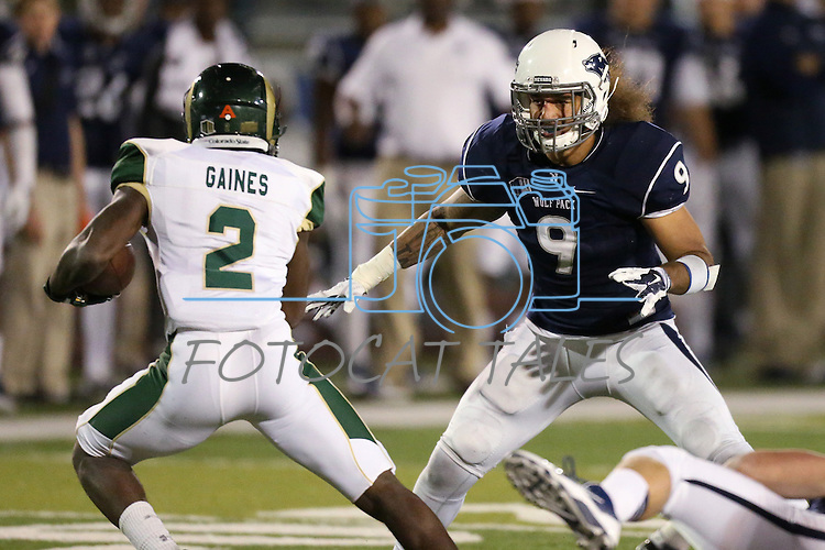 Nevada defender Matthew Lyons (9) chases Colorado State receiver Deionte Gaines (2) during the second half of an NCAA college football game in Reno, Nev., on Saturday, Oct. 11, 2014. Colorado State won 31-24. (AP Photo/Cathleen Allison)