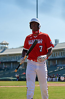 Tyree Reed (7) during the Baseball Factory All-Star Classic at Dr. Pepper Ballpark on October 4, 2020 in Frisco, Texas.  Tyree Reed (7), a resident of Vallejo, California, attends American Canyon High School.  (Mike Augustin/Four Seam Images)