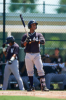 GCL Yankees East catcher Algeni Mateo (26) at bat during a game against the GCL Pirates on August 15, 2016 at the Pirate City in Bradenton, Florida.  GCL Pirates defeated GCL Yankees East 5-2.  (Mike Janes/Four Seam Images)