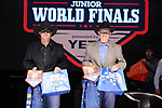 Everett Reeves, Quincy Reeves, during the Team Roping Back Number Presentation at the Junior World Finals. Photo by Andy Watson. Written permission must be obtained to use this photo in any manner.