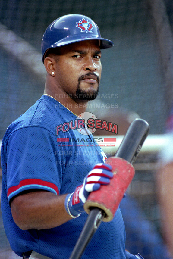 Raul Mondesi of the Toronto Blue Jays during a 2000 season MLB game at Angel Stadium in Anaheim, California. (Larry Goren/Four Seam Images)