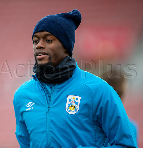 21st November 2020; Bet365 Stadium, Stoke, Staffordshire, England; English Football League Championship Football, Stoke City versus Huddersfield Town; Adama Diakhaby of Huddersfield Town during the warm up