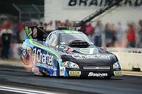 Aug. 19, 2011; Brainerd, MN, USA: NHRA funny car driver Tony Pedregon during qualifying for the Lucas Oil Nationals at Brainerd International Raceway. Mandatory Credit: Mark J. Rebilas-