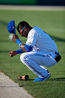 Dunedin Blue Jays Chavez Young (2) during warmups before a Florida State League game against the Lakeland Flying Tigers on April 18, 2019 at Jack Russell Memorial Stadium in Clearwater, Florida.  Dunedin defeated Lakeland 6-2.  (Mike Janes/Four Seam Images)