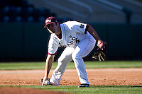 Brent Seifert (4) of the Missouri State Bears fields a slow rolling ground ball during a game against the Southern Illinois University- Edwardsville Cougars at Hammons Field on March 9, 2012 in Springfield, Missouri. (David Welker / Four Seam Images)