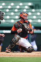 Baltimore Orioles catcher Stuart Levy (31) during an Instructional League game against the Tampa Bay Rays on September 19, 2016 at Ed Smith Stadium in Sarasota, Florida.  (Mike Janes/Four Seam Images)