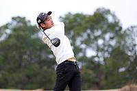 PINEHURST, NC - MARCH 02: Eric Bae of Wake Forest University tees off on the fourth hole at Pinehurst No. 2 on March 02, 2021 in Pinehurst, North Carolina.