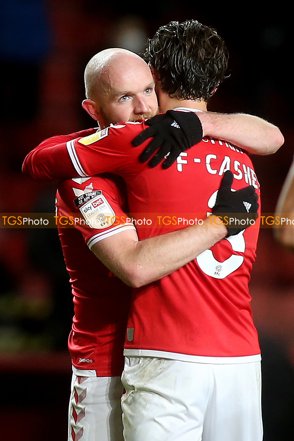 Jonny Williams celebrates Charlton's 5-2 victory at the final whistle with Jake Forster-Caskey during Charlton Athletic vs AFC Wimbledon, Sky Bet EFL League 1 Football at The Valley on 12th December 2020