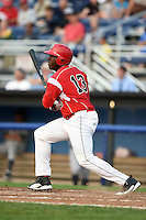 Batavia Muckdogs outfielder K.J. Woods (13) at bat during a game against the Staten Island Yankees on August 7, 2014 at Dwyer Stadium in Batavia, New York.  Staten Island defeated Batavia 2-1.  (Mike Janes/Four Seam Images)