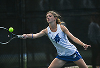 Rogers JK Bohnert hits, Monday, October 11, 2021 during the 6A state girls and boys tennis tournament at Memorial Park in Bentonville. Check out nwaonline.com/211012Daily/ for today's photo gallery. <br /> (NWA Democrat-Gazette/Charlie Kaijo)
