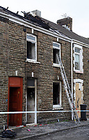 Pictured: The house that burned on Bonfire Night in Lombard Street, Neath, Wales, UK<br />