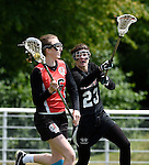 GER - Hannover, Germany, May 30: During the Women Lacrosse Playoffs 2015 match between DHC Hannover (black) and SC Frankfurt 1880 (red) on May 30, 2015 at Deutscher Hockey-Club Hannover e.V. in Hannover, Germany. Final score 23:3. (Photo by Dirk Markgraf / www.265-images.com) *** Local caption *** Hanna Kolass #16 of SC 1880 Frankfurt, Christiane Daun #23 of DHC Hannover