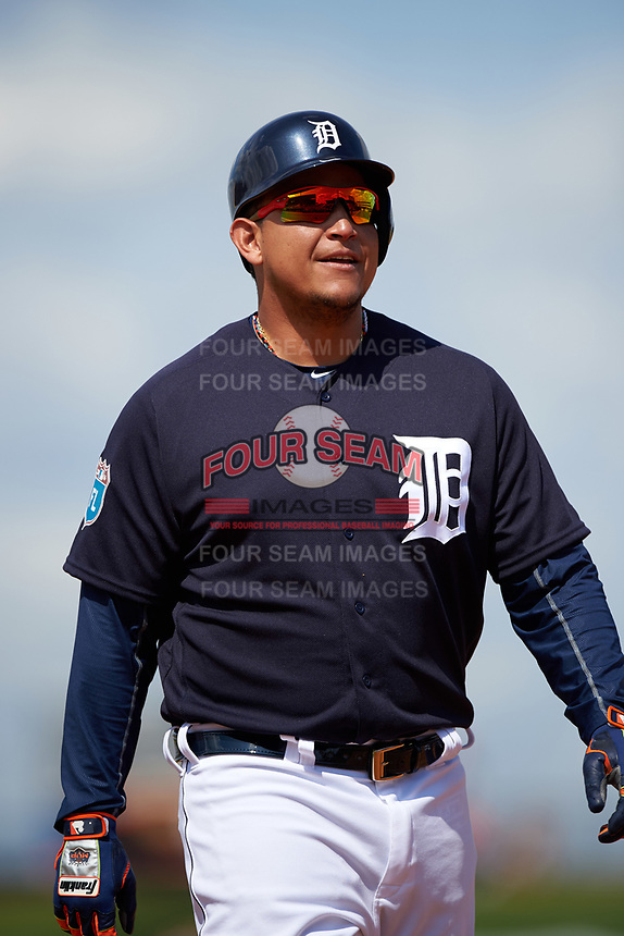 Detroit Tigers first baseman Miguel Cabrera (24) during an exhibition game against the Florida Southern Moccasins on February 29, 2016 at Joker Marchant Stadium in Lakeland, Florida.  Detroit defeated Florida Southern 7-2.  (Mike Janes/Four Seam Images)