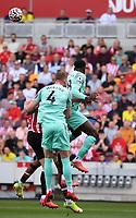 11th September 2021; Brentford Community Stadium, London, England;  Premier League football, Brentford versus Brighton Athletic; Yves Bissouma of Brighton heads the corner kick clear