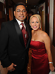 Gabe Rodriguez and Amy Stasney at the San Luis Salute to Mardi Gras in Galveston Friday Feb. 13,2015.(Dave Rossman Photo)