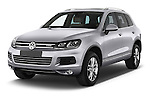 2014 Volkswagen Touareg Hybrid 5 Door SUV 2WD Angular Front stock photos of front three quarter view