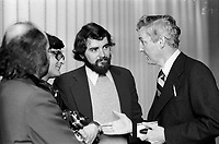 FILE PHOTO - Journalists discuss with Paul Desmarais, CEO, Power Corp, April 30 1975 (or 1973 - Exact year unknown)<br /> <br /> <br /> <br /> PHOTO : Alain Renaud - Agence Quebec Presse