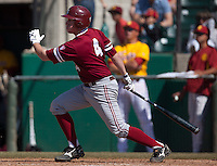 LOS ANGELES, CA - April 10, 2011: Eric Smith of Stanford baseball hits during Stanford's game against USC at Dedeaux Field in Los Angeles. Stanford lost 6-2.