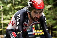 Thomas de Gendt (BEL/Lotto-Soudal) on the steep parts of the individual time trial up the infamous Planche des Belles Filles<br /> <br /> Stage 20 (ITT) from Lure to La Planche des Belles Filles (36.2km)<br /> <br /> 107th Tour de France 2020 (2.UWT)<br /> (the 'postponed edition' held in september)<br /> <br /> ©kramon