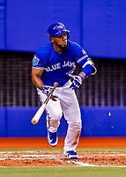 26 March 2018: Toronto Blue Jays outfielder Teoscar Hernandez in action during an exhibition game against the St. Louis Cardinals at Olympic Stadium in Montreal, Quebec, Canada. The Cardinals defeated the Blue Jays 5-3 in the first of two MLB pre-season games in the former home of the Montreal Expos. Mandatory Credit: Ed Wolfstein Photo *** RAW (NEF) Image File Available ***