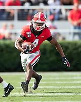 ATHENS, GA - OCTOBER 12: James Cook #4 of the Georgia Bulldogs runs with the ball during a game between University of South Carolina Gamecocks and University of Georgia Bulldogs at Sanford Stadium on October 12, 2019 in Athens, Georgia.