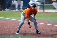 Chase Keng (4) of the UTSA Roadrunners takes his lead off of first base against the Charlotte 49ers at Hayes Stadium on April 18, 2021 in Charlotte, North Carolina. (Brian Westerholt/Four Seam Images)