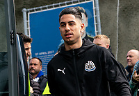 Ayoze Perez of Newcastle United arriving ahead of the Premier League match between Brighton and Hove Albion and Newcastle United at the AMEX Stadium, Brighton and Hove, England on 27 April 2019. Photo by Liam McAvoy.
