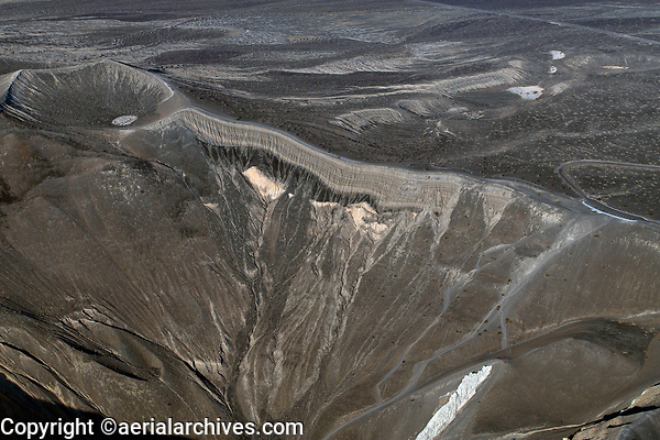 aerial photograph of the western wall of the Ubehebe Crater,  Death Valley National Park, northern Mojave Desert, California