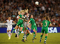 PASADENA, CALIFORNIA - August 03: Eabha O'Mahony #20, Rose Lavelle #16, Niamh Fahey #5 during their international friendly and the USWNT Victory Tour match between Ireland and the United States at the Rose Bowl on August 03, 2019 in Pasadena, CA.