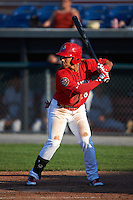 Auburn Doubledays left fielder Oliver Ortiz (18) at bat during a game against the Mahoning Valley Scrappers on June 19, 2016 at Falcon Park in Auburn, New York.  Mahoning Valley defeated Auburn 14-3.  (Mike Janes/Four Seam Images)