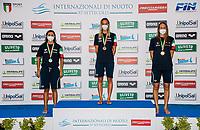 (L to R) SCALIA Silvia silver, PANZIERA Margherita Gold, ZOFKOVA Carlotta bronze<br /> 100 Backstroke Women podium<br /> Roma 12/08/2020 Foro Italico <br /> FIN 57 Trofeo Sette Colli - Campionati Assoluti 2020 Internazionali d'Italia<br /> Photo Giorgio Scala/DBM/Insidefoto