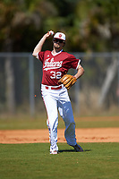 Indiana Hoosiers third baseman Luke Miller (32) during a game against the Butler Bulldogs on March 6, 2016 at North Charlotte Regional Park in Port Charlotte, Florida.  Indiana defeated Butler 2-1.  (Mike Janes/Four Seam Images)