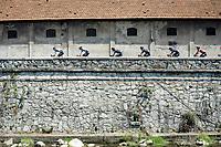 peloton head rolling through the town of Borgomanero <br /> <br /> 104th Giro d'Italia 2021 (2.UWT)<br /> Stage 19 from Abbiategrasso to Alpe di Mera (Valsesia)(176km)<br /> <br /> ©kramon