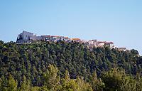 View from Domaine de la Tour du Bon the hilltop village Le Castellet perched on a mountain top Domaine de la Tour du Bon Le Castellet Bandol Var Cote d'Azur France