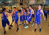 Maeroa celebrate winning the boys' basketball final between Maeroa Intermediate and Heretaunga Intermediate on Day six of the 2019 AIMS games at Baypark in Mount Maunganui, New Zealand on Friday, 13 September 2019. Photo: Dave Lintott / lintottphoto.co.nz